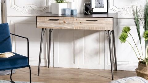 Bureau 2 tiroirs sapin et métal - Collection Carla
