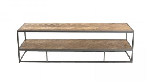 Meuble TV 2 niveaux en bois et métal - Carla