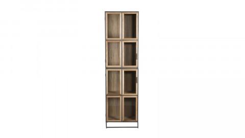 Bibliothèque 4 niveaux en bois, métal et portes vitrées - Collection Carla