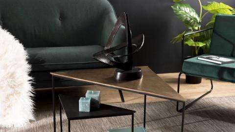 Set de 2 tables gigognes triangle en aluminium doré et noir - Collection Johan