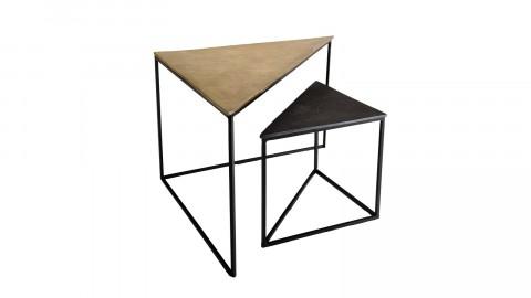 Set de 2 tables gigognes triangle en aluminium doré et noir - Johan