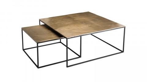 Set de 2 tables gigognes carrées en aluminium doré piètement métal - Collection Johan