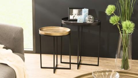 Set de 2 tables d'apppoint ovales en aluminium doré et noir - Collection Johan