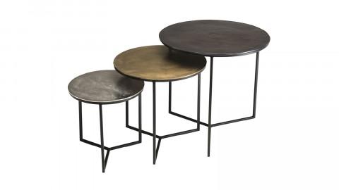 Set de 3 tables gigognes en aluminium noir doré argenté piètement métal - Johan