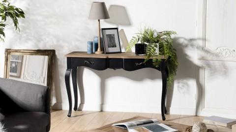 Console noire 2 tiroirs plateau en pin vieilli - Collection Olivia