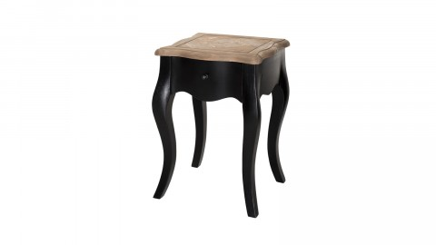 Chevet noir 1 tiroir plateau en pin vieilli - Collection Olivia