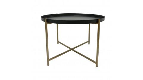 Table basse ronde en métal noir et doré - HK Living