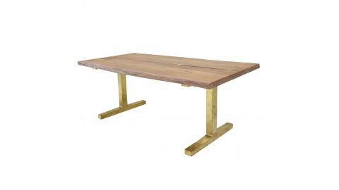 Table à manger 6 personnes en bois piètement brossé doré - HK Living