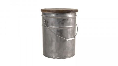 Tabouret rond bidon acier et bois recyclé - Collection Nora