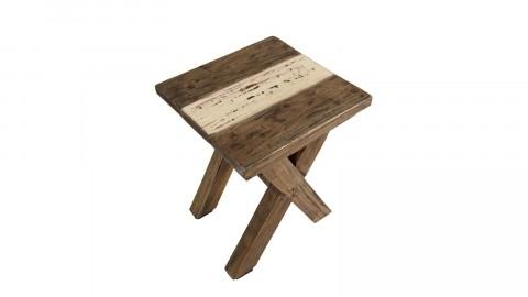 Tabouret en bois recyclé pieds croisés - Collection Nora