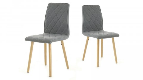 Hølda - Lot de 2 chaises Scandinave gris