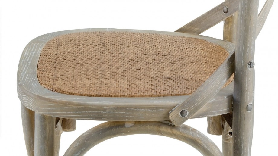Køfe - Lot de 2 chaises style Vintage, coloris gris, structure en orme, assise en agathis naturel