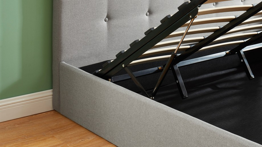 Lit coffre 180x200 cm gris clair avec tête de lit + sommier à lattes - Collection Kate