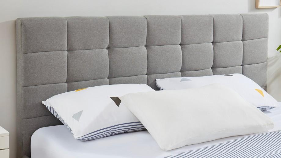 Lit adulte avec tête de lit capitonnée en tissu gris clair, sommier à lattes, 180x200 - Collection William