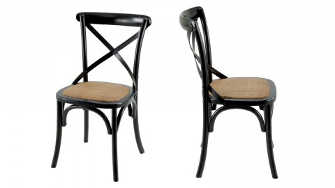 Køfe - Lot de 2 Chaises style Vintage, coloris noir, structure en orme, assise en agathis naturel