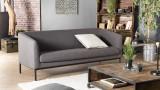 Canapé 3 places en tissu gris anthracite piètement en métal noir - Collection Nelson