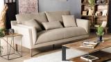 Canapé 3 places en tissu beige piètement en métal noir - Collection Nelson