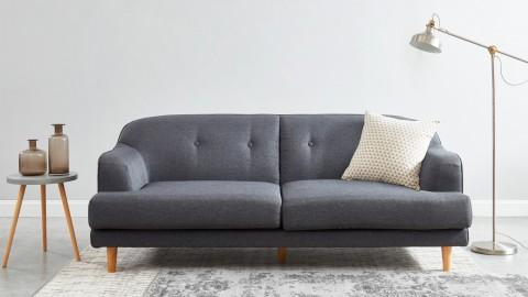Canapé rétro capitonné 3 places en tissu gris anthracite - Collection Betty