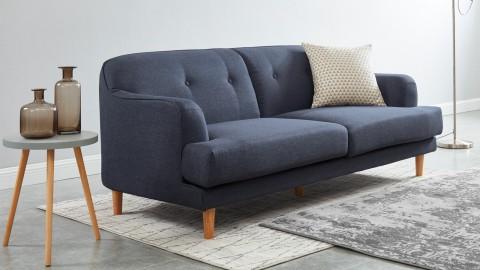Canapé rétro capitonné 3 places en tissu bleu nuit - Collection Betty