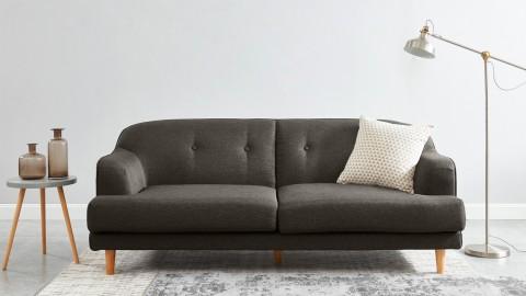 Canapé rétro capitonné 3 places en tissu gris foncé - Collection Betty