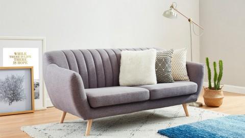 Canapé scandinave 3 places en tissu gris clair - Collection Camille