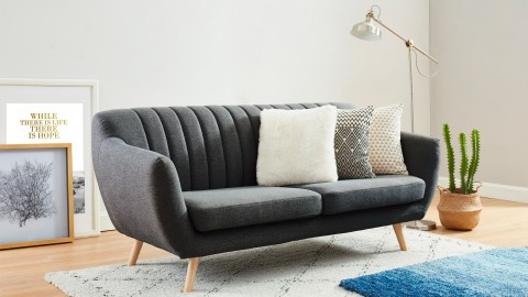 Canapé scandinave 3 places en tissu gris anthracite - Collection Camille