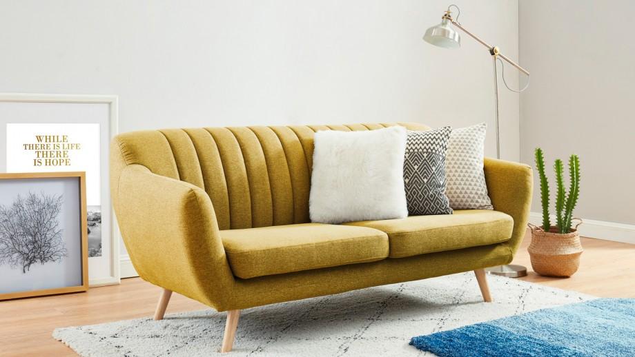 Canapé scandinave 3 places en tissu jaune moutarde - Collection Camille