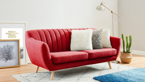Canapé scandinave 3 places en tissu rouge framboise - Collection Camille