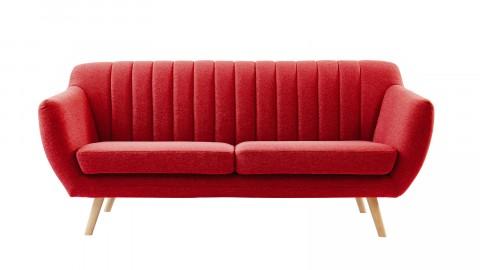 Canapé scandinave 3 places en tissu rouge framboise - Collection Camille