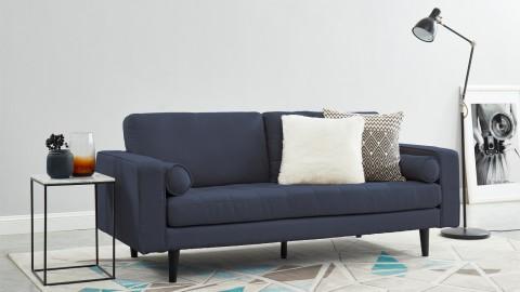 Canapé droit 3 places en tissu bleu cobalt - Collection Charly