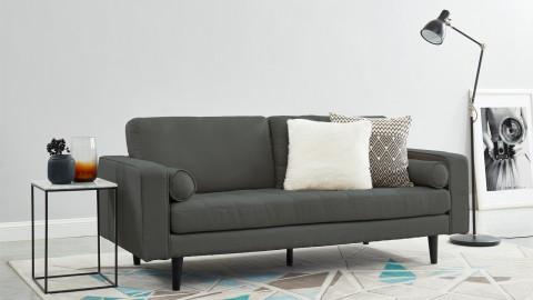 Canapé droit 3 places en tissu gris - Collection Charly
