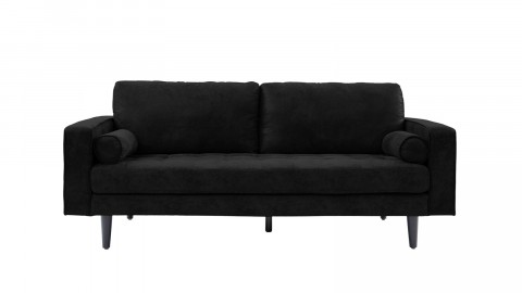 Canapé droit 3 places en simili cuir noir - Collection Charly