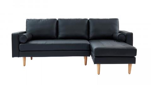 Canapé d'angle réversible 3 places en simili cuir noir - Collection Charly