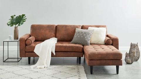 Canapé d'angle réversible 3 places en tissu marron - Collection Charly