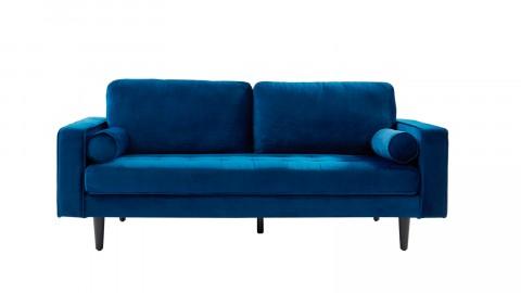 Canapé droit 3 places en velours bleu - Collection Charly
