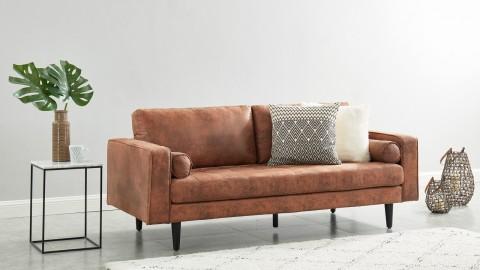 Canapé droit 3 places en tissu marron - Collection Charly