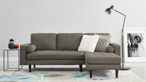 Canapé d'angle réversible 3 places en velours gris clair - Collection Charly