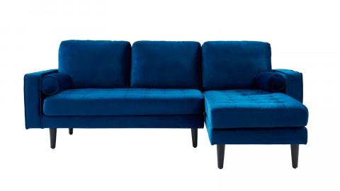 Canapé d'angle réversible 3 places en velours bleu - Collection Charly