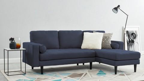 Canapé d'angle réversible 3 places en tissu bleu cobalt - Collection Charly