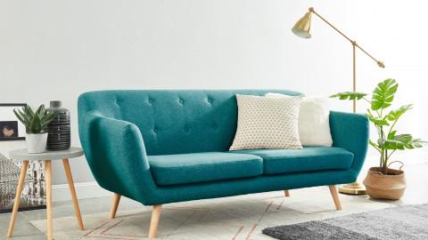 Canapé scandinave capitonné 3 places en tissu bleu canard - Collection Chloé
