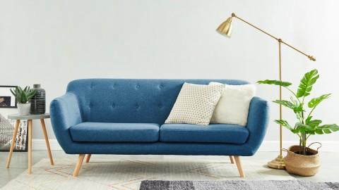 Canapé scandinave capitonné 3 places en tissu bleu - Collection Chloé