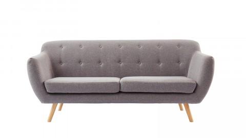 Canapé scandinave capitonné 3 places en tissu gris clair - Collection Chloé