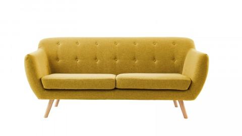 Canapé scandinave capitonné 3 places en tissu jaune moutarde - Collection Chloé