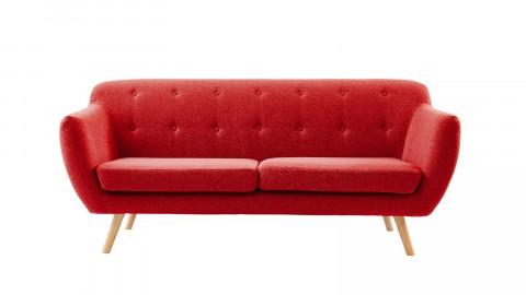 Canapé scandinave capitonné 3 places en tissu rouge framboise - Collection Chloé