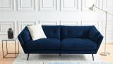 Canapé moderne 3 places en velours bleu - Collection Thelma