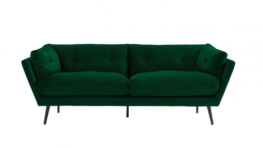 Canapé moderne 3 places en velours vert émeraude - Collection Thelma