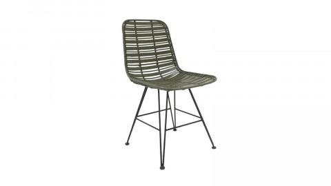 Chaise en rotin vert olive piètement en métal - HK Living