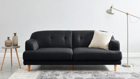 Canapé rétro capitonné 3 places en tissu gris - Collection Betty