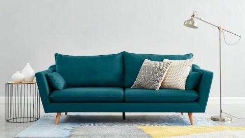 Canapé droit scandinave 3 places en tissu bleu canard - Collection Louise