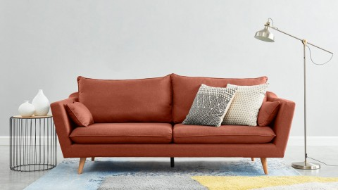 Canapé droit scandinave 3 places en tissu rose blush - Collection Louise